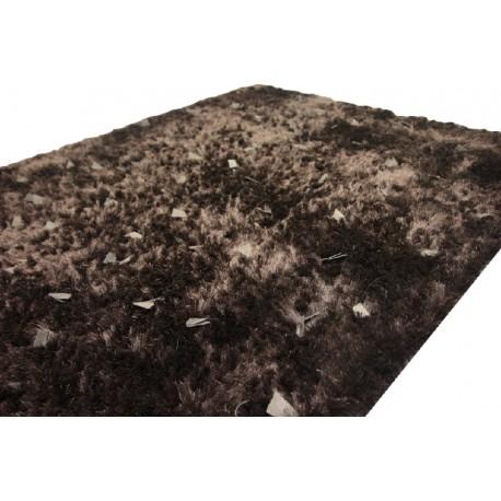 Ciemno brązowy shaggy ze skórzanymi dodatkami 140x200