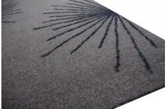 Elegancki ciemno brązowy dywan z błyszczącym brokatowym wzorem