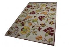 Wzorzysty wełniany indyjski dywan beż i kwiaty 160x230