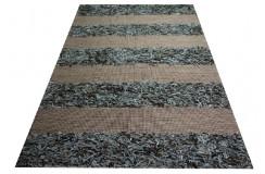 Jutowy pomarańczowy dywan z zamszem 160x230