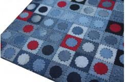 Jeansowy nowoczesny patchwork koła i kwadraty 160x230 Indie