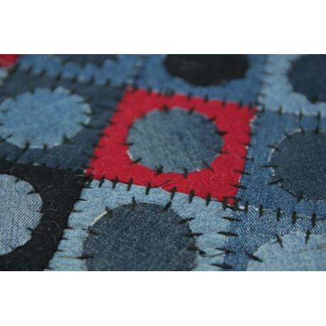 Jeansowy nowoczesny patchwork koła i kwadraty 160x230 Indie ekologiczny