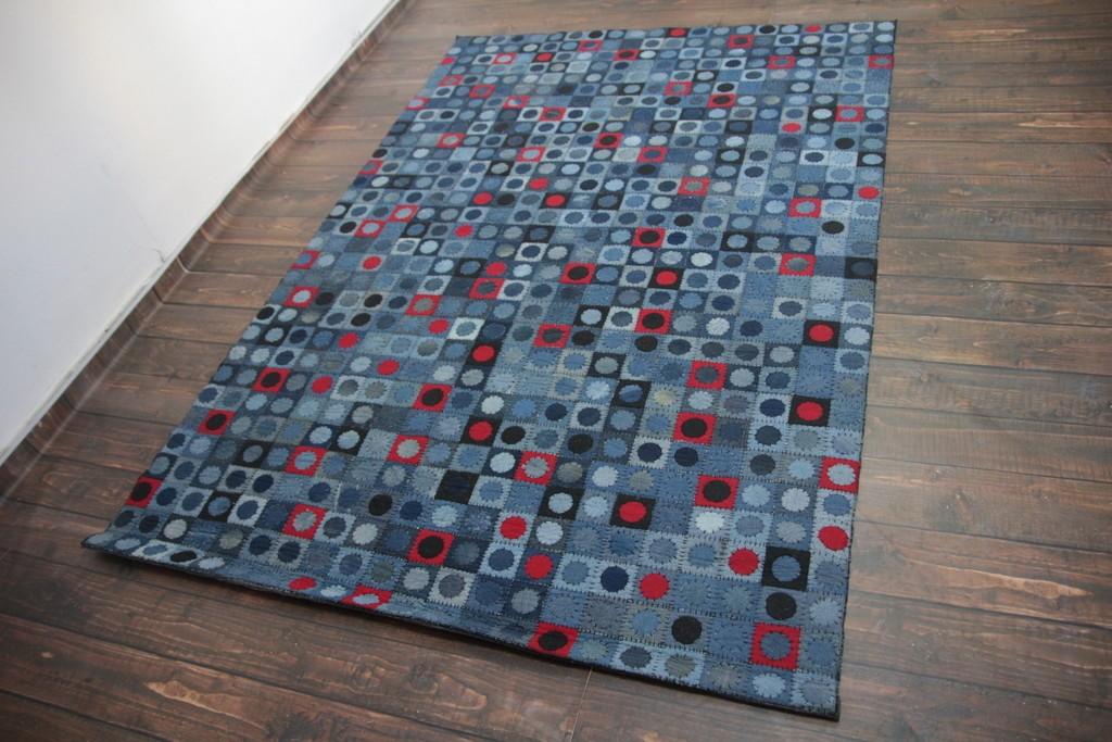 Patchworkowy dywan jeansowy ekologiczny 160x230