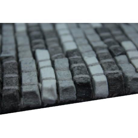 100% Wełniany naturalny dywan Brinker Carpets Stone 800 170x230cm wart 4 500zł szary wełna filcowana