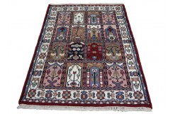 Czerwon klasyczny ręcznie tkany dywan indyjski Baktjar w kwatery 120x170cm 100% wełna