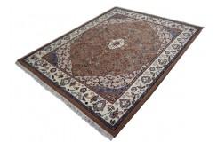 Cenny gęsto ręcznie tkany dywan Tebriz Kanchipur 100% wełna 180x230cm Indie piękny perski wzór brązowy