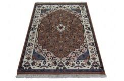 Cenny gęsto ręcznie tkany dywan Tebriz Kanchipur 100% wełna 120x170cm Indie piękny perski wzór brązowy