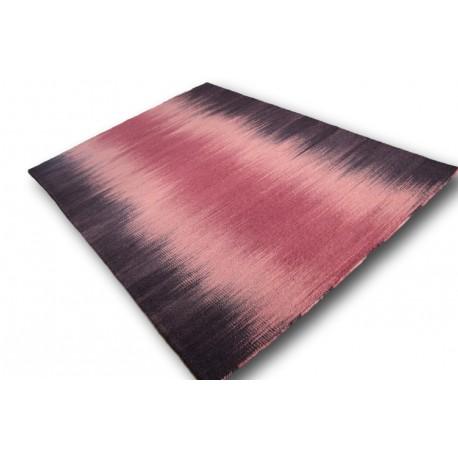 Indyjski masywny bardzo gęsto tkany dywan dwustronny 170x240cm czrwony deseń (kilim)