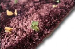 Bakłażanowy błyszczący dywan shaggy Ava Handfab ze wstawkami z naturalnej skóry 160x230cm inny