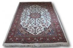 Gęsto ręcznie tkany dywan Tebriz Kanchipur 100% wełna 160x230cm Indie piękny perski wzór beżowy