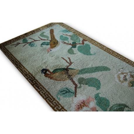 Naturalny JEDWABNY KWIATOWY dywan TIANJIN (CHINY) lusksuowy jedwab obrazkowy wzór ręcznie tkany ptaki