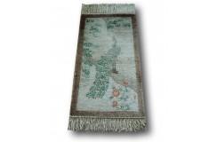 Naturalny JEDWABNY KWIATOWY dywan TIANJIN (CHINY) lusksuowy jedwab obrazkowy wzór ręcznie tkany rajski ptak