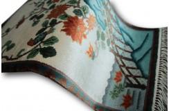Obrazkowy lśniący jedwabny dywan z Chin śliczny ręczny chodniczek 48x91cm