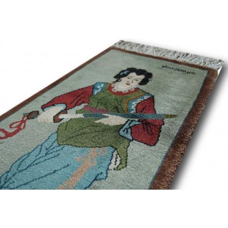 100% jedwab obrazkowy lśniący dywan z Chin śliczny ręczny chodniczek 47x90cm