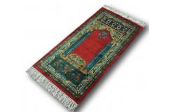 Jedwabny modlitewni z motywem Mihrabu (wnęki) ręcznie tkany orientalny oryginał z Chin