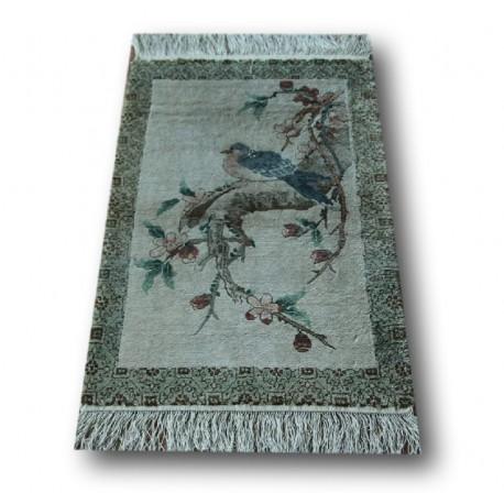 Piękny ekskluzywny jedwabny ręcznie tkany dywan z połyskiem obrazowy ptaki miękki 63x93cm Chiny
