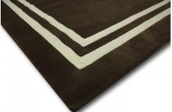 Dywan wełniany 150x240cm nowoczesny gładki ciemny brązowy Indie reczny tafting