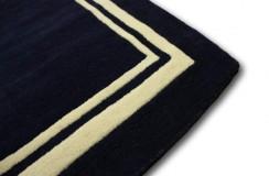 Dywan wełniany 150x240cm nowoczesny gładki ciemny niebieski Indie reczny tafting