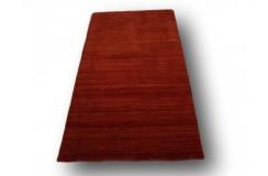 Gładki 100% wełniany chodnik Loribaft Gabbeh Handloom ceglasy z deseniem 95x175cm