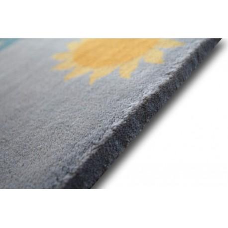 Gładki ręcznie CHIŃSKI jedyny 100% wełniany dywan AUBUSSON nietypowy 60x90cm