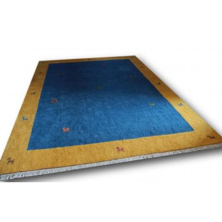 Stonowany wełniany dywan gabbeh 250x350cm 2cm gruby etniczny żółto niebieski