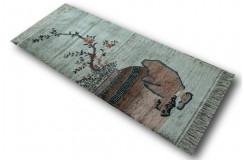 Luksusowy lśniący dywan z jedwabiu waza z kwiatami Chiński majstersztyk piękny 71x155cm