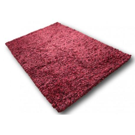 Puszysty dywan shaggy z wełny filcowanej i poliesteru 165x235m Indie ręcznie tkany tanio nasycony czerwony
