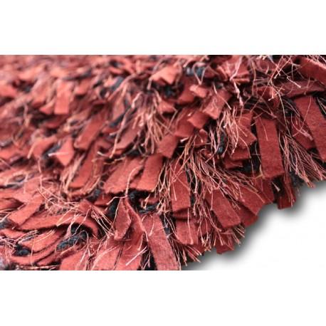 Puszysty dywan shaggy z wełny filcowanej i poliesteru 165x235m Indie ręcznie tkany tanio nasycony czerwono bordowy