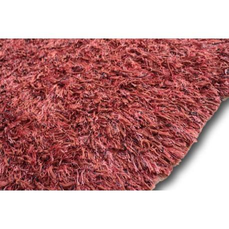 Puszysty dywan shaggy z wełny filcowanej i poliesteru 165x235m Indie ręcznie tkany tanio nasycony ceglasty