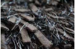 Puszysty dywan shaggy z wełny filcowanej i poliesteru 165x235m Indie ręcznie tkany tanio brąz i szary