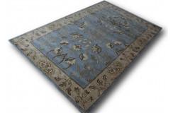 Zdobiony pojedynczy kwiatowy dywan 155x245cm kwiatowy wzór perski ręcznie tkany Indie szaro niebieski