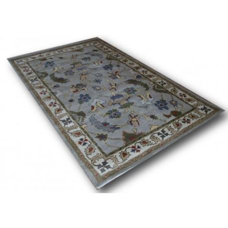 Tani dobry gatunkowo dywan wełniany z Indii rozety kwiaty 155x245cm
