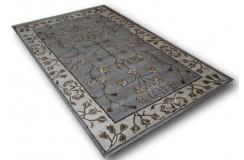 Ciekawy szaroniebieski dywan z klasycznym wzorem z Indii 100% wełna