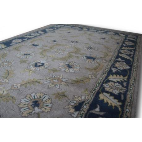 Szary dywan z kwiatowymi palmetami ziegler 155x245cm wełna
