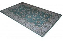 Zielony zdobiony dywan wełniany z Indii bogaty kwiatowy piękny 155x245cm