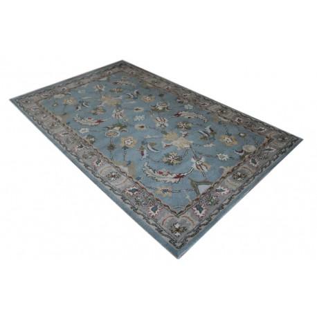 Jasnoniebieski elegancki kwiatowy dywan z Indii 100% wełna owcza 155x245cm