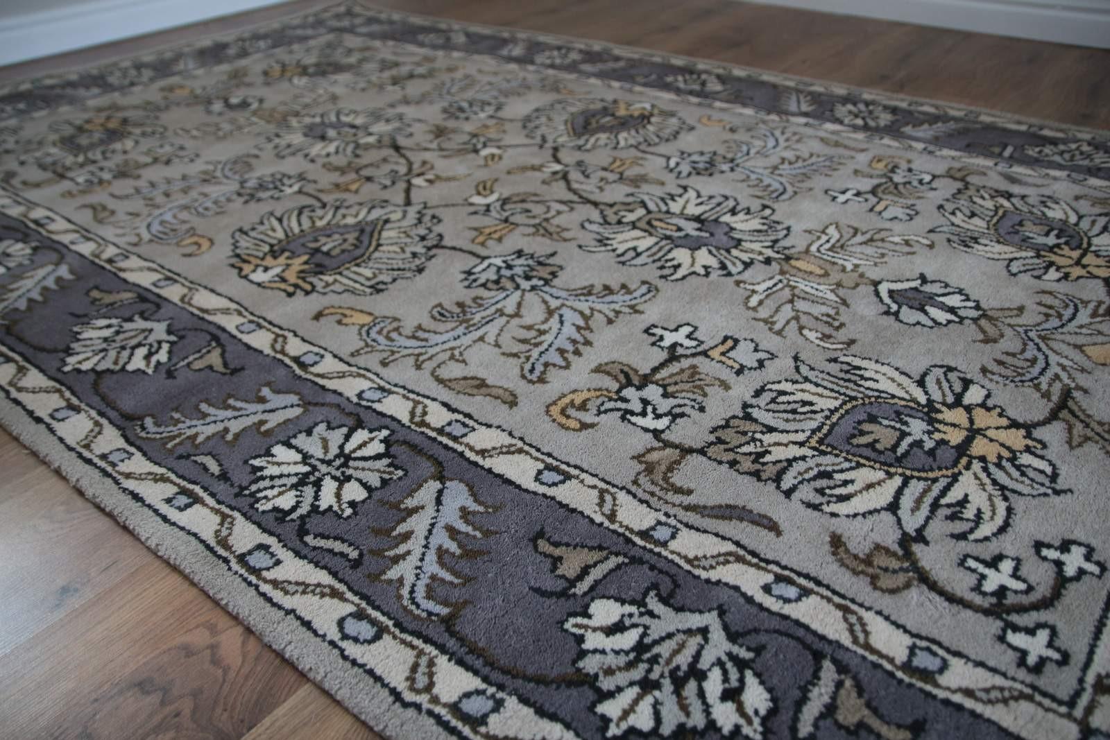 Klasyczny dywan z perskim wzorem wełna 155x245cm kwiatowy brąz