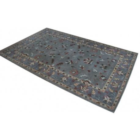 Szary dywan w kolorowe kwiaty z wełny owczej z Indii 155x245cm