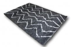 Wełniany ręcznie tkany dywan Shaggy z Indii Luxor Living Iceland 170x240 nowoczesny szary wzory ecru