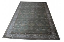 Zielony stonowany dywan indyjski z perskimi wzorami 100% wełna 155x245cm