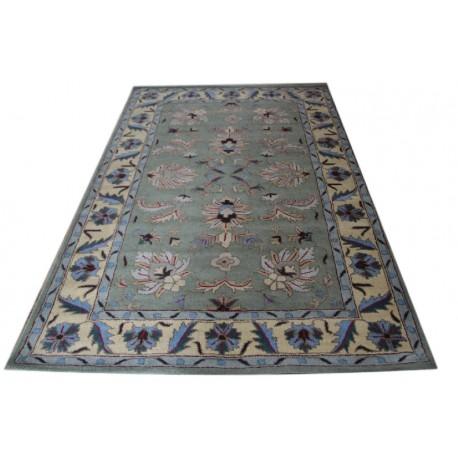 Zielony piękny dywan Persian z kolorowymi wzorami kwiatowymi 155x245cm wełna