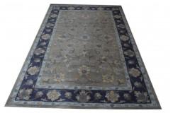 Bogaty kwiatowy dywan welniany z Indii odcienie szarości ręcznie tkany