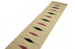 100% wełniany ręcznie tkany dywan dwustronny - kilim z Afganistanu beżowy
