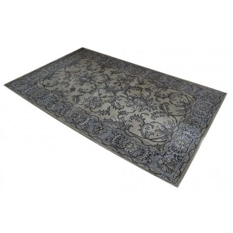 Brązowo-zary indyjski dywan wełniany z pięknym wzorem perskim 155x245cm