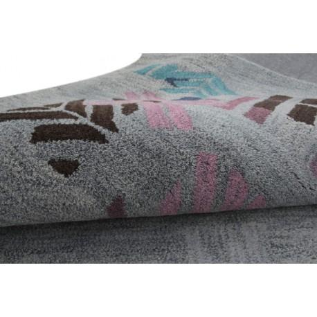 Gruby indyjski szaro-niebieski dywan wełniany 240x240cm nowoczesny wzór kwadratowy