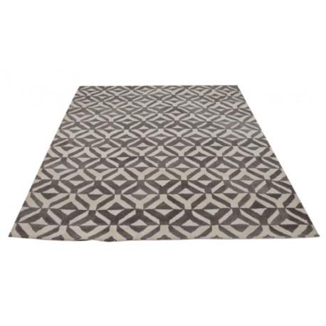 Beżowo-brązowy nowoczesny gruby dywan indyjski geometryczny 240x300cm