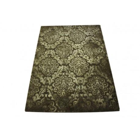 Brązowy wełniany dywan Vintage z jedwabnymi wstawkami 160x230cm piękny design Indie