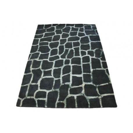 Grafitowy piękny nowoczesny dywan wełniany z jedwabnymi wstawkami 160x230cm