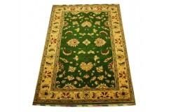 Zielony unikatowy ręcznie tkany dywan Ziegler z paksitanu 100% wełna 120x176cm luksusowy