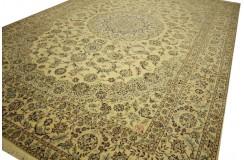 Nain 6la Habibian gęsto ręcznie tkany dywan z Iranu wełna + jedwab ok 260x370cm jasny beżowy majestatyczny
